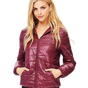 Fashion Nova lightweight burgundy puffer jacket